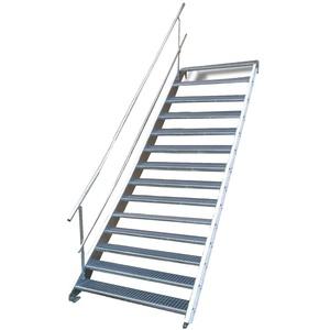 Stahltreppe Industrietreppe Aussentreppe Treppe 14 Stufen-Breite 100cm Variable Geschosshöhe 210-280cm mit einseitigem Geländer