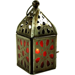 Guru-Shop Laterne Orientalische Metall/Glas Laterne in.. rot