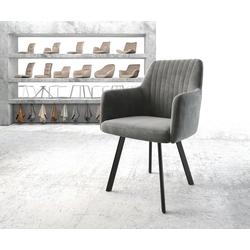 DELIFE Esszimmerstuhl Greg-Flex 4-Fuß oval Schwarz Samt Grau grau 57 cm x 87 cm x 57 cm