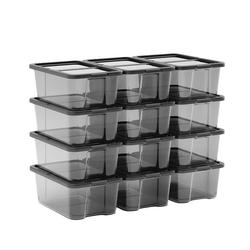 SONGMICS Schuhbox LSP12WT LSP12BK, 12er Set Aufbewahrungsboxen, schwarz schwarz