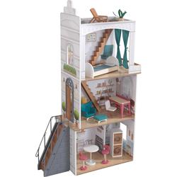 KidKraft Puppenhaus Rowan, mit Balkon und Dachterrasse weiß Kinder Puppenzubehör Puppen