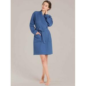 Damenbademantel Kurz-Kimono Länge 100cm, Taubert, Made in Europe blau XL = 48/50