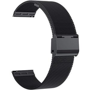 Uhrenarmbänder, 16 mm 18 mm 20 mm 22 mm Ersatz-Edelstahl-Metallgitterband, Schnellverschluss-Uhrenarmband-Metallschraube, intelligente Uhrenarmbänder für Männer Frauen. (22mm, black)