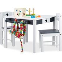 Relaxdays Kindersitzgruppe Star weiß-grau