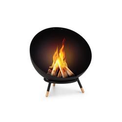 blumfeldt Feuerschale Fireball Wood kippbare Stahl-Feuerschale für Garten oder Terrasse Ø 66 cm, Wärme & Romantik: stählerne Feuerschale für Lagerfeueratmosphäre im Garten oder auf der Terrasse