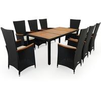 Casaria Polyrattan Set 9-tlg. Tisch 190 x 91 x 75 cm schwarz