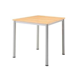 """Tisch """"Base"""" 80 x 80 cm, alusilber, Buche funiert HE UV-lackiert"""