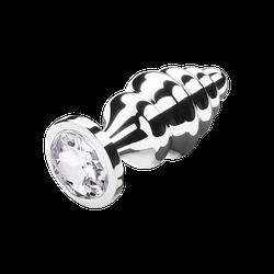 Gerillter Analplug mit Kristall, 8 cm