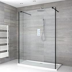 Nox Schwebende Walk-In Dusche mit Duschtasse & Seitenpaneelen - Wählbare Größe, von Hudson Reed