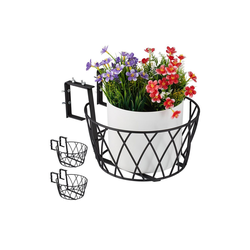relaxdays Blumenkasten Blumentopfhalter Balkon 3er Set 34 cm x 19 cm x 27 cm