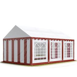 Toolport Partyzelt 3x6m PVC 500 g/m² rot wasserdicht Gartenzelt, Festzelt, Pavillon