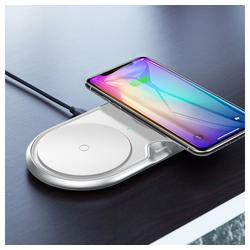 Baseus Baseus Dual Qi Wireless Charger Induktives Ladegerät 3A Weiß Oval mit Wandladegerät EU Quick Charge USB Wireless Charger