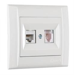 Defne Doppel Netzwerkdose Cat 3 + Cat 5 + Rahmen, VDE Zertifiziert, Unterputz, in weiß