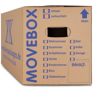 KK Verpackungen Aufbewahrungsbox (Spar-Set, 100 Stück, 100er-Set), Movebox 2-welliger Umzugskarton Umzugskiste 40kg Braun