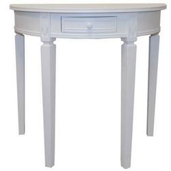 elbmöbel Konsolentisch Tisch weiß halbrund Landhaus, Konsolentisch: 1 Schublade 80x75x40 cm weiß Landhausstil