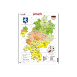 Larsen Puzzle Rahmen-Puzzle, 70 Teile, 36x28 cm, Karte Hessen, Puzzleteile