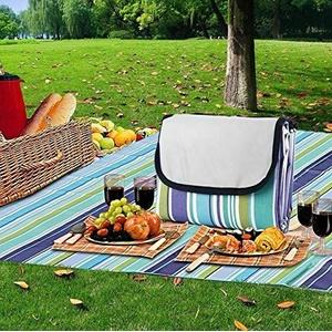 RHP Picknickdecke XXL 150x180cm klappbare Rasendecke Stranddecke Reisen Wasserdicht (Blau/Gelb Streifen)