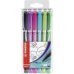Fineliner mit gefederter Spitze - STABILO SENSOR M - medium - 6er Pack - mit 6 verschiedenen Farben