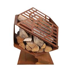 esschert design Feuerkorb Feuerkorb mit Brennholzfach