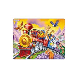 Larsen Puzzle Rahmen-Puzzle, 30 Teile, 36x28 cm, Tier-Zug, Puzzleteile