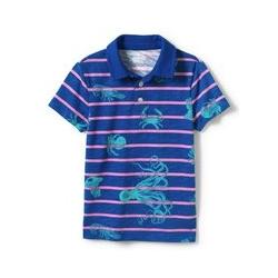 Slub-Jersey Poloshirt, Größe: 134-152, Blau, by Lands' End, Kobalt Meerestiere Gestreift - 134-152 - Kobalt Meerestiere Gestreift
