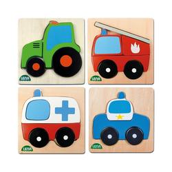 Lena® Steckpuzzle LENA® Holz-Steckpuzzle Fahrzeuge, 4er-Set, Puzzleteile