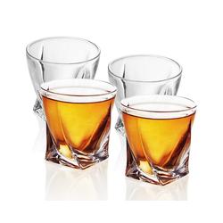 Intirilife Whiskyglas, Glas, 4x Whisky Glas in KRISTALL KLAR 'TWISTED' - Old Fashioned Whiskey Kristallglas beige