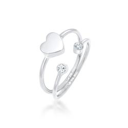 Elli Ring-Set Herz Liebe Swarovski® Kristall (2 tlg) 925 Silber, Kristall Ring silberfarben 52