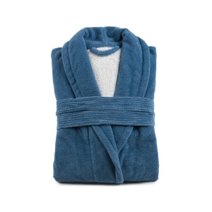 Gözze Turin Soft Bademantel mit Schalkragen, blau, Morgenmantel aus 50% Baumwolle und 50% Microfaser, Größe: XXL