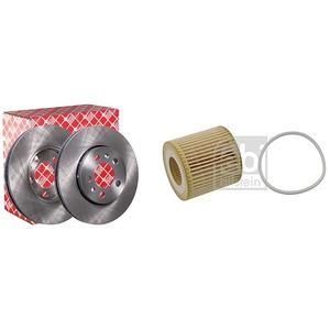 febi bilstein 14404 Bremsscheibensatz , 2 Bremsscheiben & 23468 Ölfilter mit Dichtring , 1 Stück