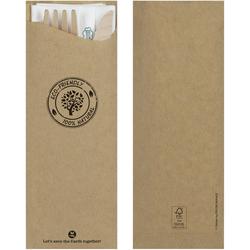 Besteckset Messer Gabel Zahnstocher aus Holz + Serviette Bestecktasche, 25 Sets