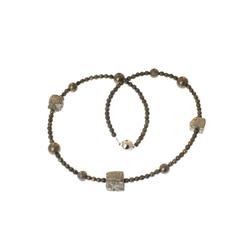 Bella Carina Perlenkette Pyrit Perlen, Magnetverschluss 60 cm