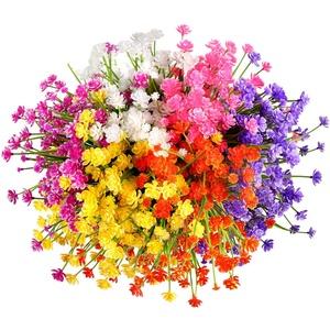 Omldggr 12 Bündel künstliche Blumen für den Außenbereich, künstliche Blumen aus Kunststoff, künstliche Narzissen für drinnen und draußen, Übertopf für Zuhause, Garten, Dekoration (6 Farben)