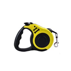 TOPMELON Hunde-Geschirr, Nylon + Kunststoff, Hundeleine Rollleine & Doppel-Knopf-Anti-Rutsch-Griff, 5m, Kunststoff gelb S