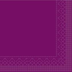 Mank Tissue Basics Servietten, 33 x 33  cm, 1/4 Falz, 3-lagig, 1 Karton = 6 x 100 Stück = 600 Servietten, aubergine