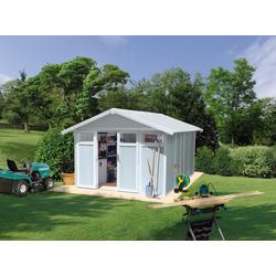 Grosfillex Gartenhaus UTILITY 11m² Gartenschuppen aus Kunststoff und Metall mit Glasfenstern