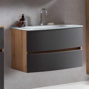 Waschtischschrank in Grau und Wildeiche Optik 80 cm breit