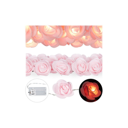 relaxdays Lichterkette Rosen Lichterkette rosa