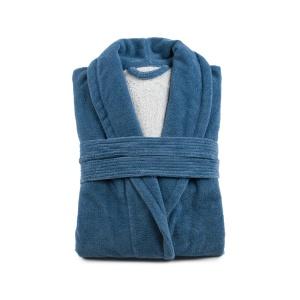 Gözze Turin Soft Bademantel mit Schalkragen, blau, Morgenmantel aus 50% Baumwolle und 50% Microfaser, Größe: L