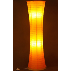 TRANGO LED Stehlampe, 1230L Design LED Reispapier Stehlampe *AMSTERDAM* Reispapierlampe *HANDMADE* Stehleuchte mit orangefarbenem Lampenschirm inkl. 2x E14 LED Leuchtmittel, Form: Rund, Höhe: 125cm, Wohnraumlampe, Standlampe