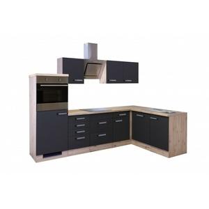 Winkelküche Anthrazit/san Remo Eiche Mit Geschirrspüler, Kühlschrank & Spüle