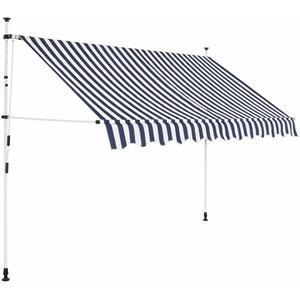 yorten Markise Einziehbar Manuell 250cm Sonnenschutz Klemmmarkise Wasser- und schmutzabweisend Blau und Weiß Gestreift