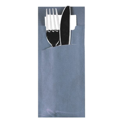 Bestecktaschen 8,5 x 20 cm mit Serviette, 520 Stück blau, Papstar