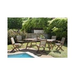 SALON DE JARDIN EN BOIS ACACIA 6/8 pers - 1 Table rect. 220*90 cm, 4 chaises et 2 fauteuils pliants
