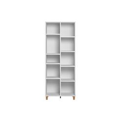 Skandinavisches JIM-Bücherregal in Weiß und Holz
