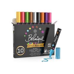 Belmique Kreidemarker Metallicfarben, (10er Set), Perfekt als Kreidestift, Kreidemarker, Glasmalstifte, Folienstifte, Tafelstift, Glasmarker & Whiteboard Marker - Trocken Abwischbar