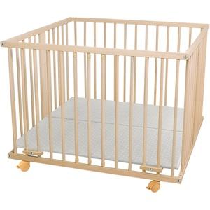 WALDIN Baby Laufgitter Laufstall ca. 100x100 BUCHE MASSIV natur unbehandelt