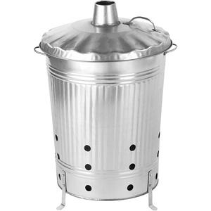 satis Feuertonne 90 Liter verzinkt I Gartenabfall schnell und einfach entsorgen I Feuerfass aus Metall, Garten Verbrennungstonne Gartentonne Ofen Brennofen