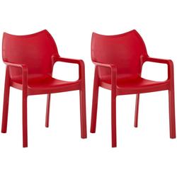 CLP Gartenstuhl Diva (2er Set), Kunststoff-Gartenstuhl mit Armlehnen rot