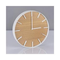 Yamazaki Wanduhr Rin (26cm Rahmen, Ziffern und Zeiger aus Metall, Ziffernblatt aus Holz) weiß